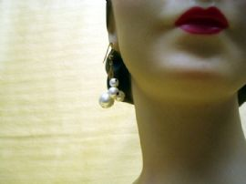 1960's Popcorn Pearl Cluster Earrings on Gold on Silver Earwires